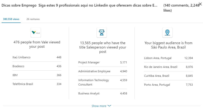 Read more about the article ?240 mil visualizações no Linkedin? 1 semana! ?