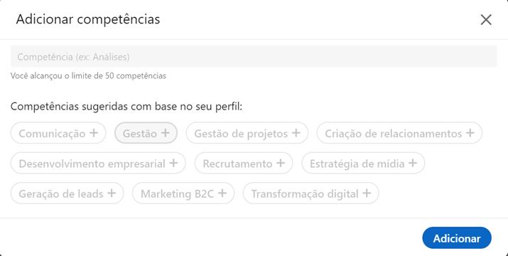 Competências LinkedIn